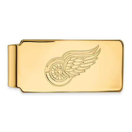Solid 925 Sterling Silver with Gold-Toned NHL Detroit Red Wings Money Clip (55mm x 26mm) (Detroit Tigers Money Clip)
