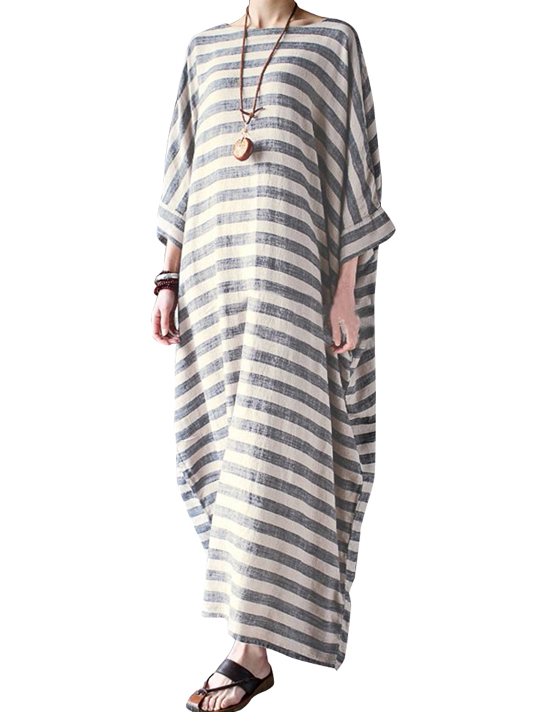 Women's Boho Striped Half Sleeve Round Neck Maxi Dress Kaftan