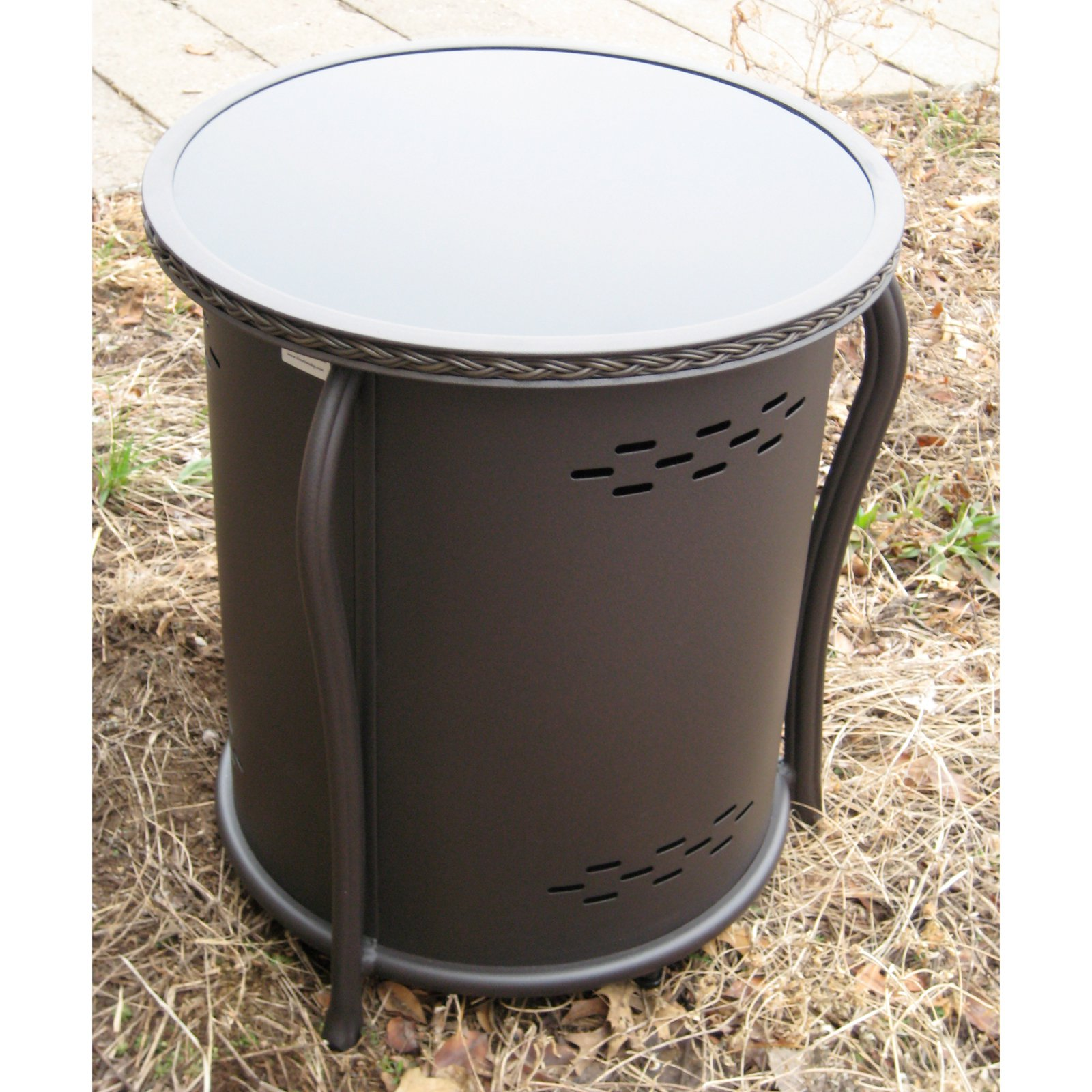 Outdoor GreatRoom Propane Tank Cover and Side Table with Glass Top