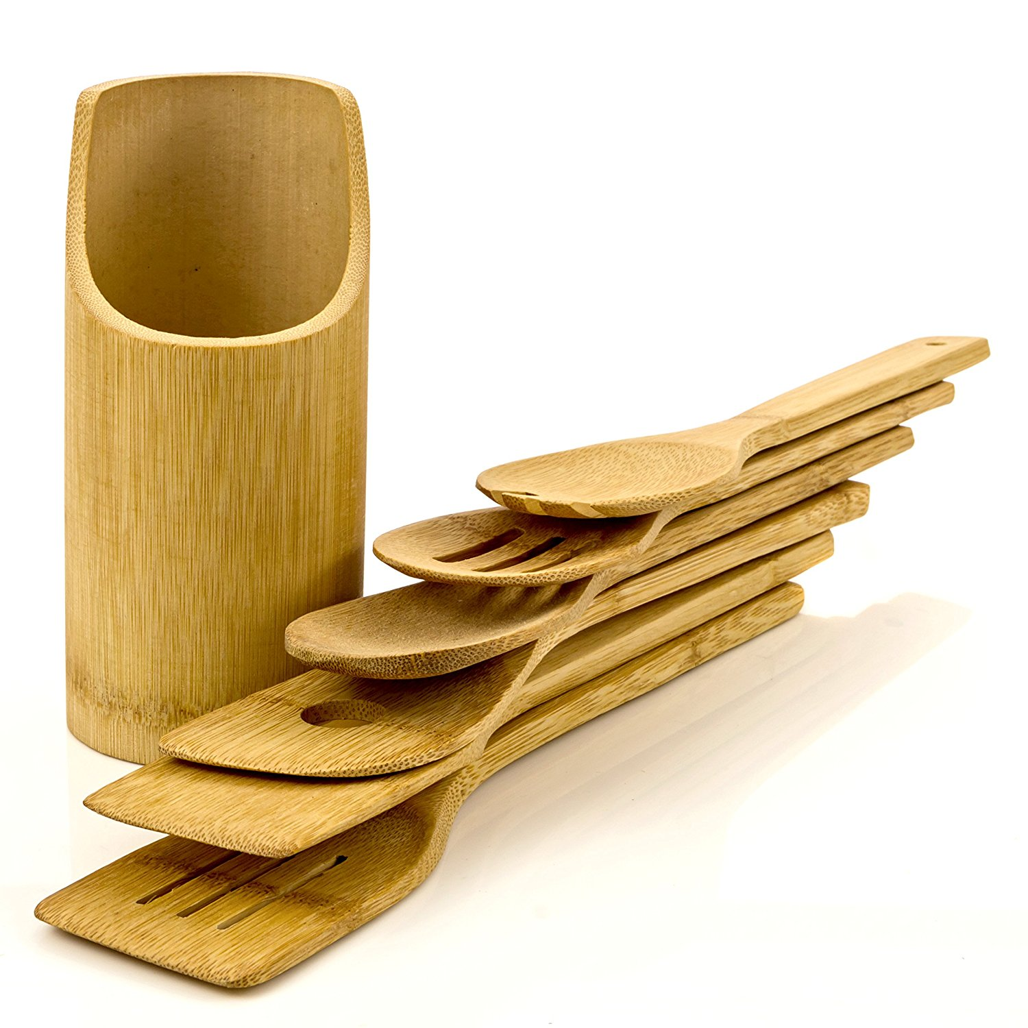 Intriom Bamboo Set of 7 Bamboo -Made Cooking / Baking Kitchen Utensils - Spatula. Mixing Spoon. Salad Serving Fork w/ Bamboo Utensils Holder
