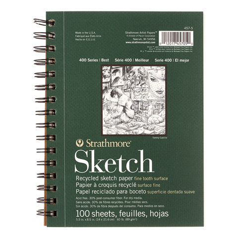 "Strathmore 5.5"" x 8.5"" Wire Bound Recycled Sketch Pad"