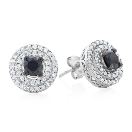 b59e3403f Netaya - 1.00 Carat Enhanced Black & Natural White Diamond Earrings in Sterling  Silver - Walmart.com