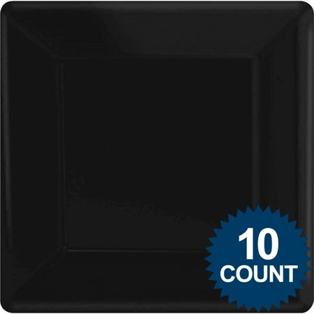 black premium plastic square dinner plates 10ct party