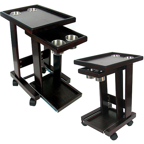 Mahogany Slide Out Poker Drink and Food Cart