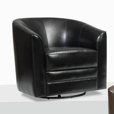 Emerald Home Furnishings Milo Bonded Leather Swivel Chair   Black