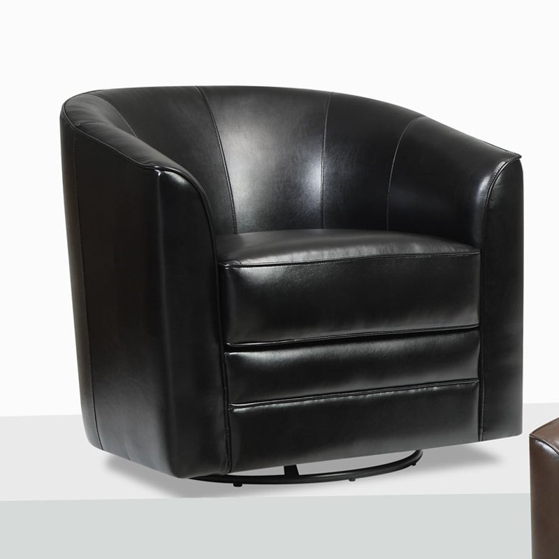 Exceptionnel Emerald Home Furnishings Milo Bonded Leather Swivel Chair   Black
