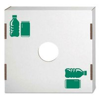 Waste and Recycling Bin Lid, Bottles and Cans, White, 10/Carton