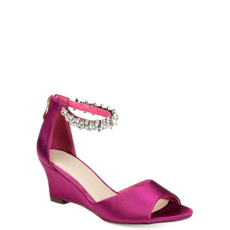 Leather Jeweled Slides (Womens Jeweled Open-toe Wedge )