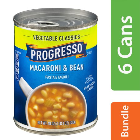 (6 Pack) Progresso Vegetable Classics Macaroni and Bean Soup, 19 oz Canned White Bean Soup