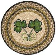 Earth Rugs 49-CH116 Shamrock Printed Round Chairpad with Matching Tie, 15.5'
