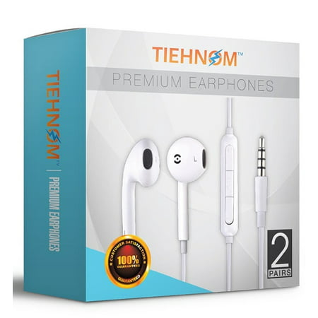 (Tiehnom B01M6BSFQN 7077 Premium Earphones, Headphones Earbuds with Microphone and Volume Control for iPhone/iPad/iPod/Android Smartphones/Samsung with 2 Earphone Clips - White - 2 Piece)