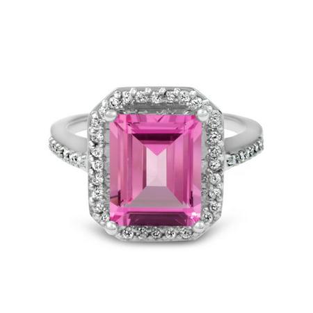 4 1/2ct Emerald Pink Topaz & Diamond Vintage Halo Engagement Ring White