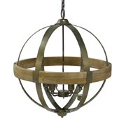 "63"" Wood and Metal Rustic Modern Hanging Six Light Orb Light Fixture"