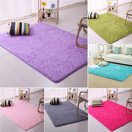 Girl12Queen Plush Shaggy Soft Carpet Room Area Rug Bedroom Slip Resistant Door Floor Mat (Hot Pink Carpet)