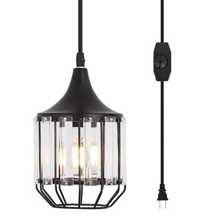 Hanging Lamps Swag Lights Plug In Pendant Light 16 Ft Cord And Chain Cage Line On Off Dimmer Switch For Kitchen Island