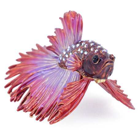 Crystal Elephant Trinket Box - Red Purple Crowntail Betta Fish Trinket Box With Swarovski Crystal