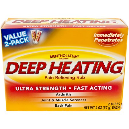 Mentholatum Deep Heating Pain Relieving Rub, 2 Tubes, 2 OZ (57g)