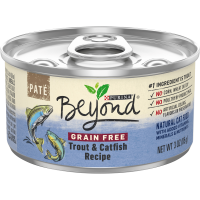 (12 Pack) Purina Beyond Grain Free Natural Pate Wet Cat Food Grain Free Trout & Catfish Recipe 3 Oz. Cans