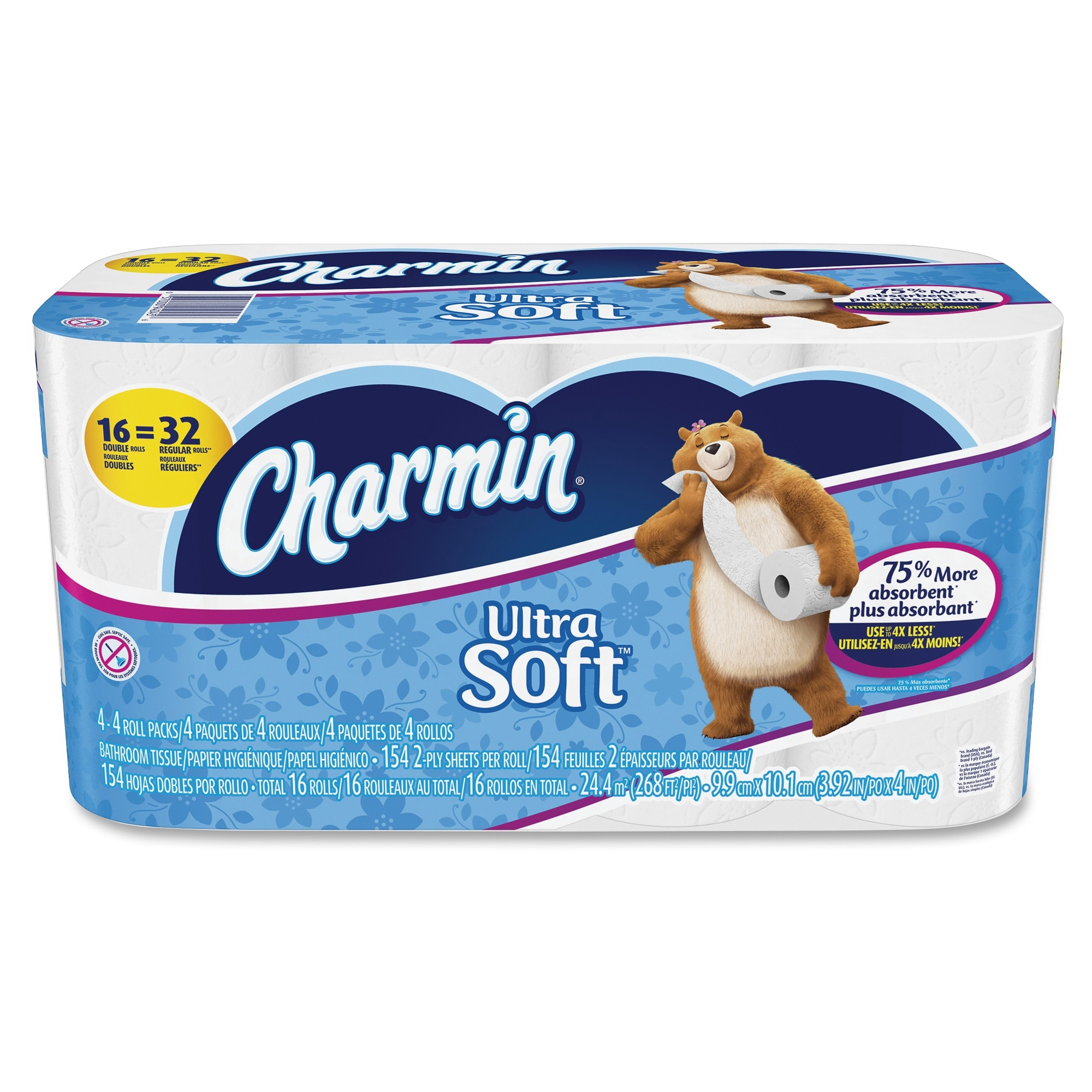 Charmin Ultra Soft Bathroom Tissue - 2 Ply - 16 Roll[s] Per Pack - White - Soft, Absorbent, Clog-free, Anti-septic - For Bathroom, Toilet - 16 / Pack (94045ct)