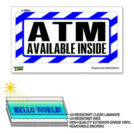 Laminated Sign Sticker - ATM Inside Blue & White - 12 in x 6 in - Laminated Sign Business Sticker