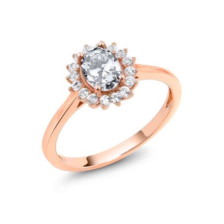 10K Rose Gold 1.74 Ct Oval White Zirconia White Created Sapphire Ring - Gold Oval Sapphire Ring
