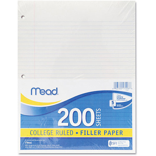 Mead Filler Paper, College Ruled, 3-Hole Punched, 11 x 8-1/2, 200 Sheets Per Pack