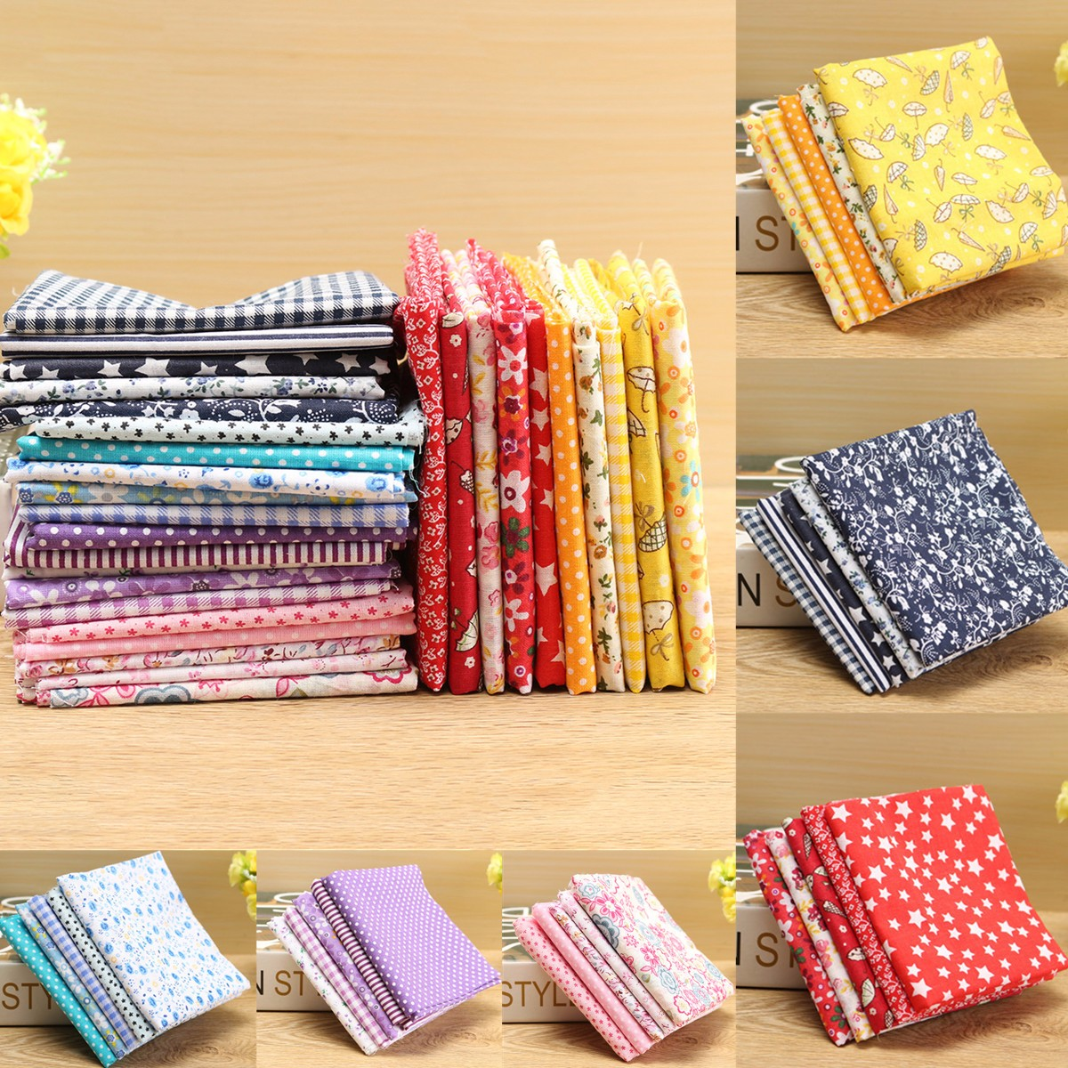 5pcs 50cm*50cm Assorted Pattern Floral Cotton Fabric Cloth For DIY Crafts Sewing