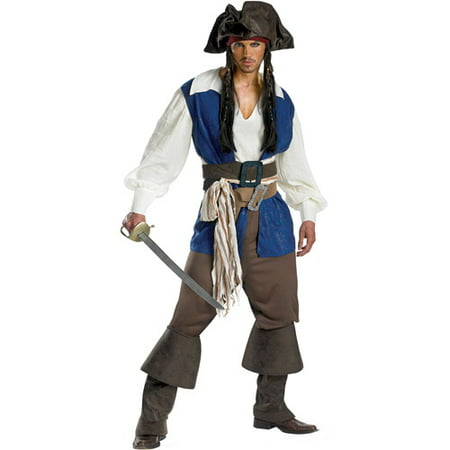 Pirates of the Caribbean Captain Jack Sparrow Deluxe Adult Halloween Costume (Captain Jack Sparrow Wig)