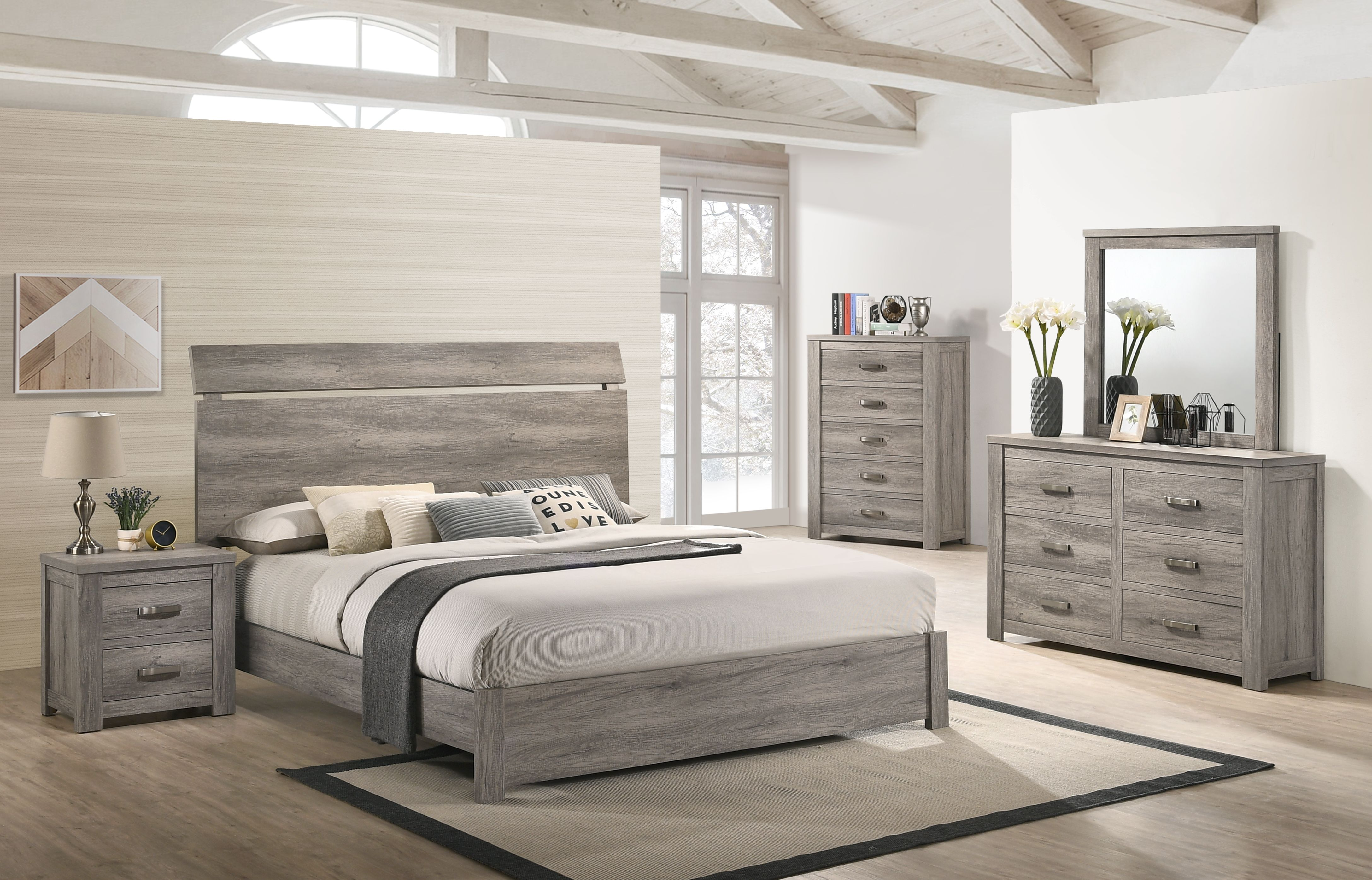 floren contemporary weathered gray wood bedroom set king