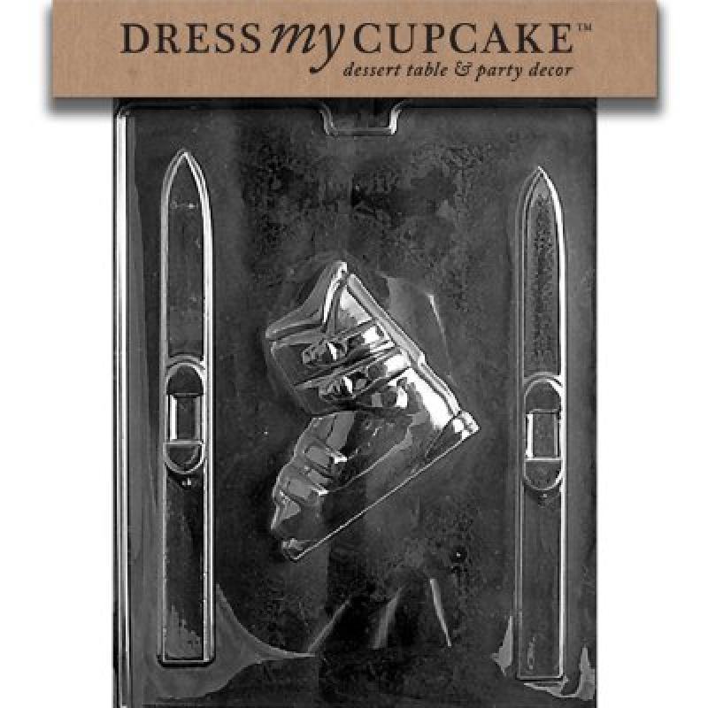 Dress My Cupcake Chocolate Candy Mold, Skis and Boots by