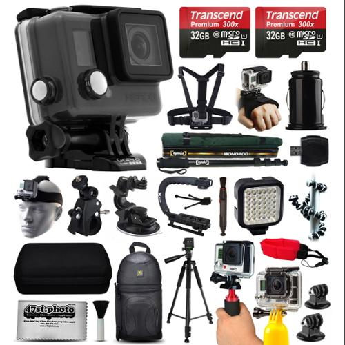 GoPro HERO+ LCD Camera Camcorder (CHDHB-101) with Ultimate Accessory Bundle includes 64GB Memory + Selfie Stick + Chest & Head Strap + Backpack + LED Night Light + Car & Pole Mount + Tripod + More