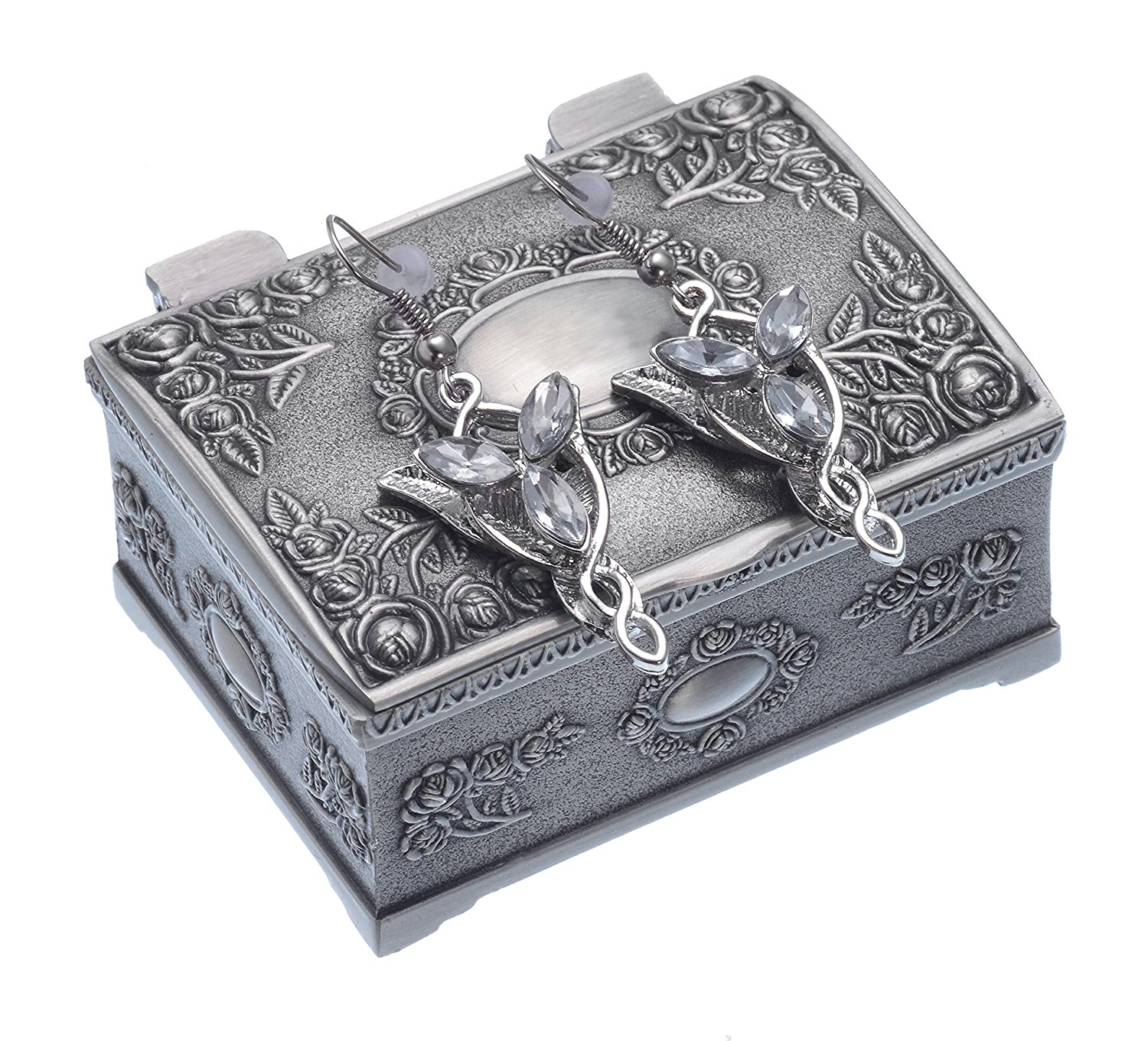 Vintage Lord of the Rings Movie Arwen Evenstar Silver Pendant Earrings  w/ Jewery box
