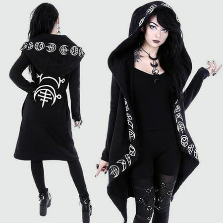 Gothic Adult Sweatshirt - Women Gothic Chic Hooded Sweatshirt Plus Size Cotton Loose Moon Plain Print Punk Hoodie Irregular Cardigan