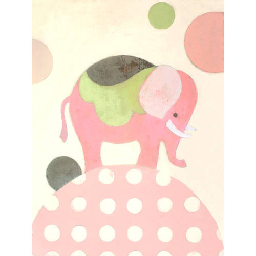 Oopsy Daisy - Ella Elephant - Pink Canvas Wall Art 18x24, Sally Bennett