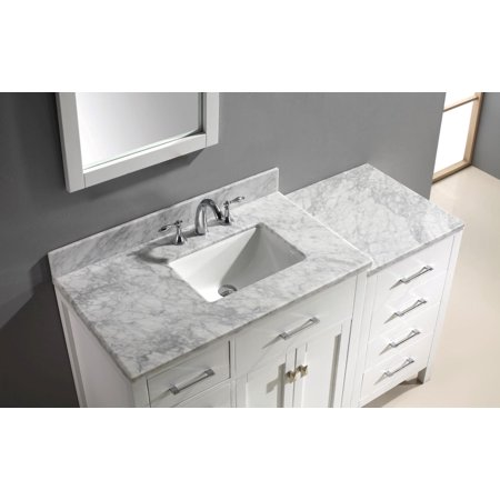 Virtu Usa Ms 2157L Wmsq Gr 002 57 In  Caroline Parkway Grey Single Square Left Side Sink White Marble Top Bathroom Vanity With Polished Chrome Faucet   Grey Frame Mirror