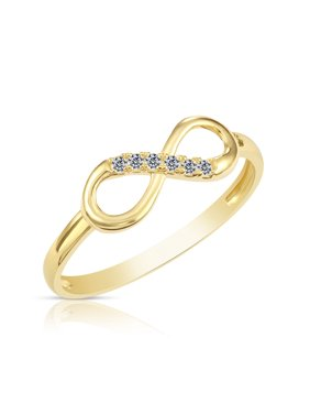 10k Yellow Gold Forever Infinity Cubic Zirconia Ring