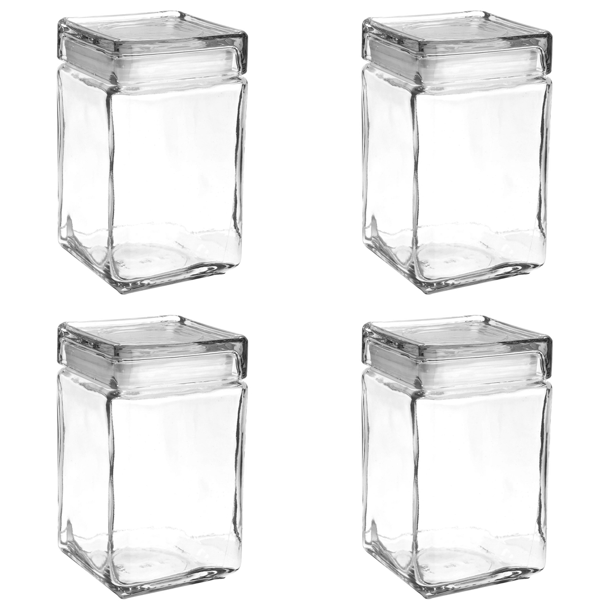 Set of 4 Anchor Hocking Stackable Glass Storage Jars Containers Airtight Seal