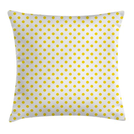Yellow Decor Throw Pillow Cushion Cover, Picnic Like Cute 50s 60s 70s Themed Yellow Spotted White Pattern Print, Decorative Square Accent Pillow Case, 16 X 16 Inches, Yellow and White, by Ambesonne - 50s Decor