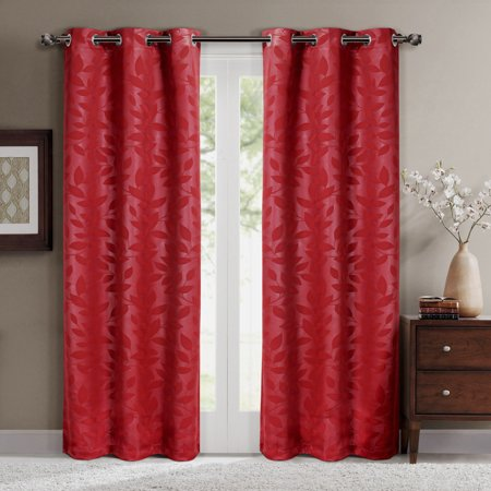 Virginia Pair (Set of 2) Blackout Weave Energy-Saving Thermal Curtain Panels Grommet Embossed fabric Leafy Designs - 74