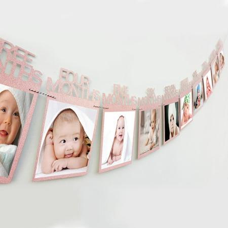 Codream Birthday Photo Frame 1-12 Months Baby's Photo Frame Shower Baby Photo Holder Kids Birthday Gift Room Decorations