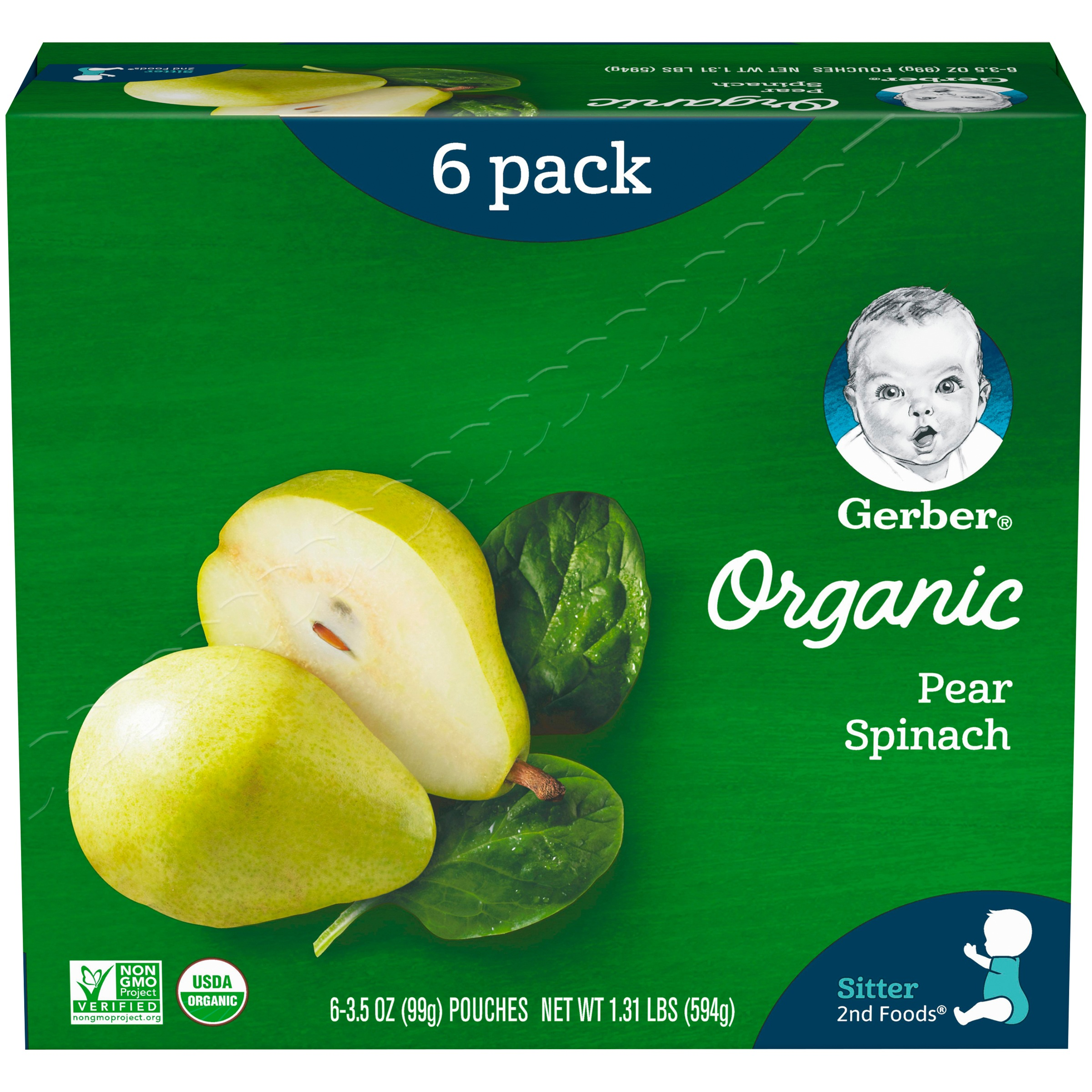 Gerber 2nd Foods Organic Baby Food, Pears & Spinach, 3.5 oz. Pouch (Pack of 6)