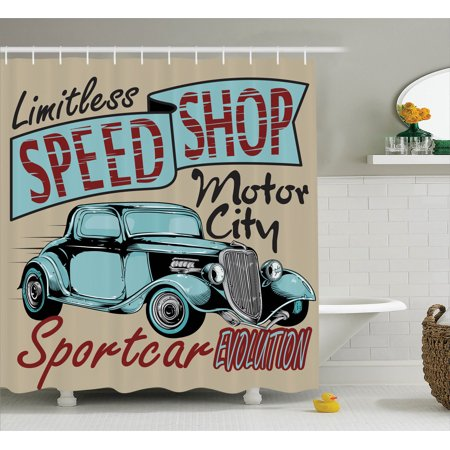 1950S Decor Shower Curtain Set, Nostalgic Advertising Print For Antique Sports Auto In Retro Rusty Colors Art Design, Bathroom Accessories, 69W X 70L Inches, By Ambesonne