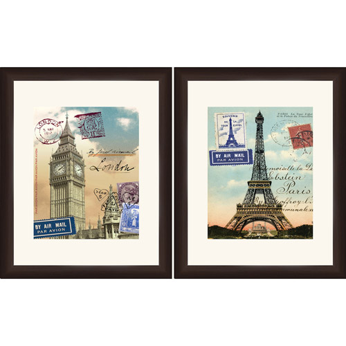 London and Paris Travel Wall Artwork by