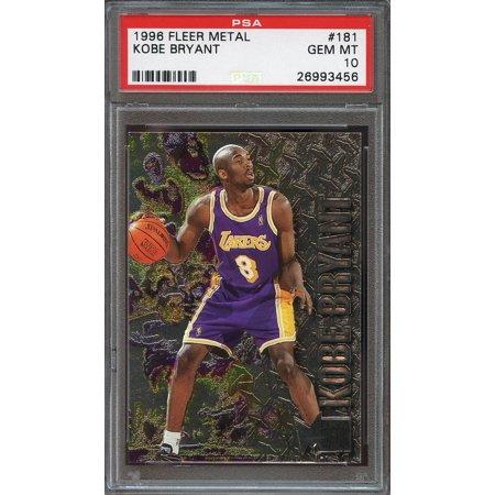 1996 97 Fleer Metal  181 Kobe Bryant Los Angeles Lakers Rookie Card Psa 10