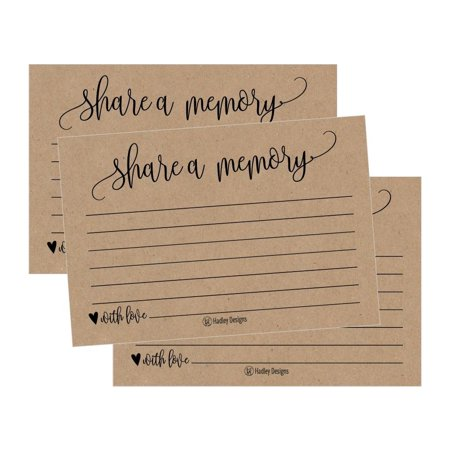 Wedding Memorial Ideas (25 Funeral or Birthday Share a Memory Cards Keepsake, Condolence Sympathy Memorial Acknowledgment, Remembrance Appreciation Celebration of Life Service Supplies Guest Book Alternative Advice Game)