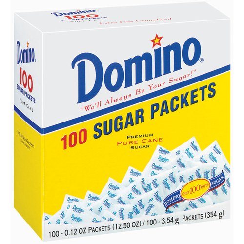 Domino Pure Cane Sugar Packets, 0.12 oz, 100 count