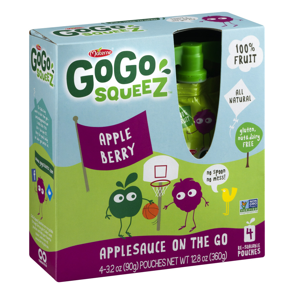 GoGo squeeZ AppleBerry Applesauce On The Go, 3.2 oz, 4 ct