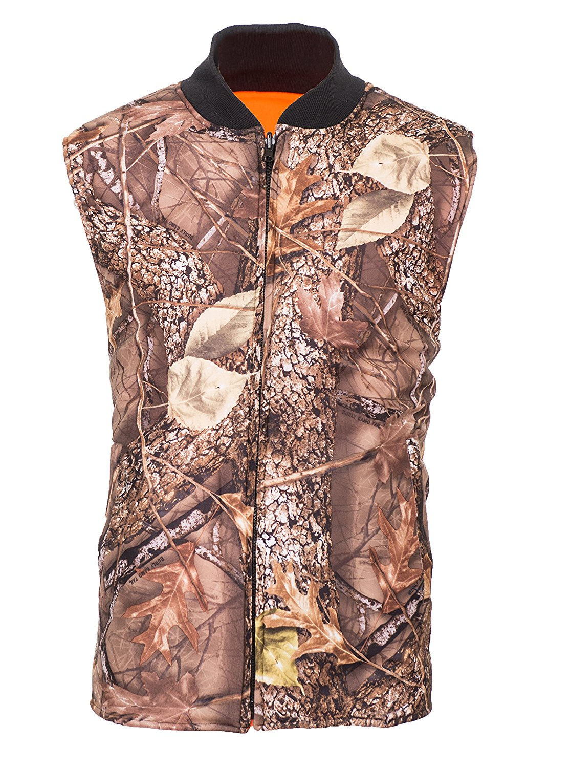 Reversible Burly Tan Camo Blaze Orange Insulated Hunting Vest (Medium) by WFS