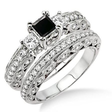 2 Carat Black Diamond Antique Milgrain Trilogy Bridal Set On 10K White Gold