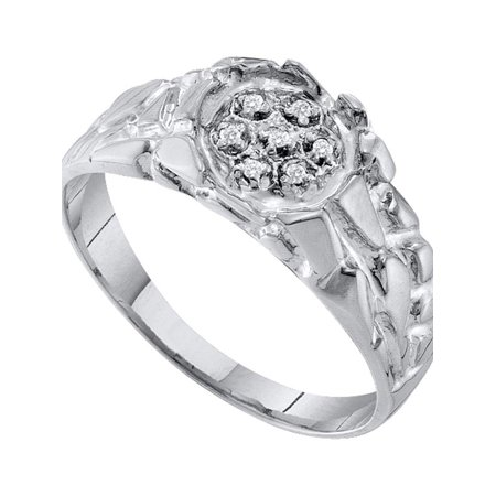 Sterling Silver Mens Round Diamond Cluster Nugget Ring 1/20 Cttw Diamond Fine Jewelry Ideal Gifts For Mens Gift Set From Heart